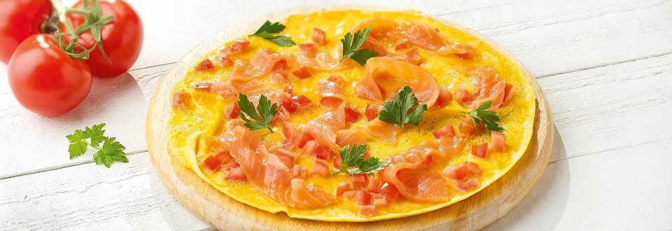 Omelette au saumon bio