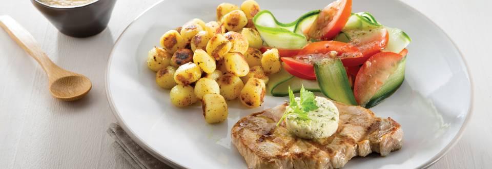 Steak minute grillé avec beurre à l'ail & mini grenailles
