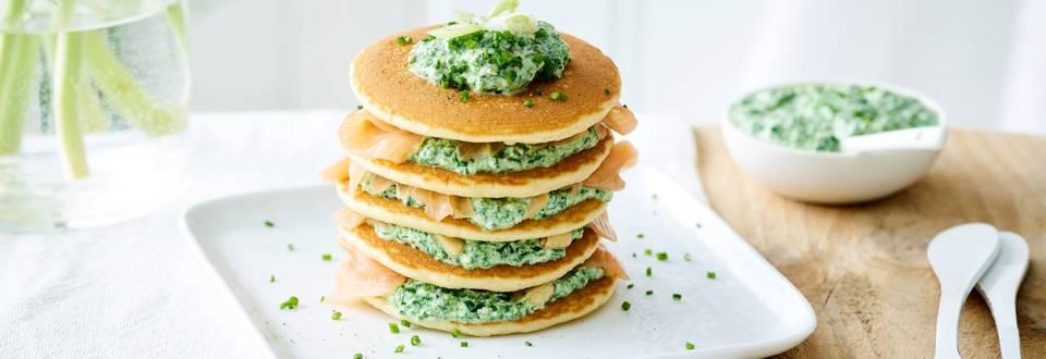 Pancakes saumon-épinards
