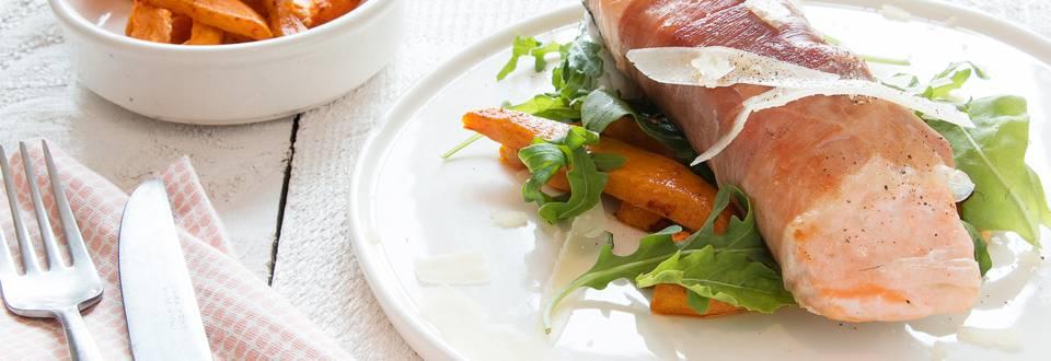 Saumon rôti et frites de patate douce