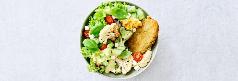 Salade de chou-fleur grillé et escalope épinards-fromage