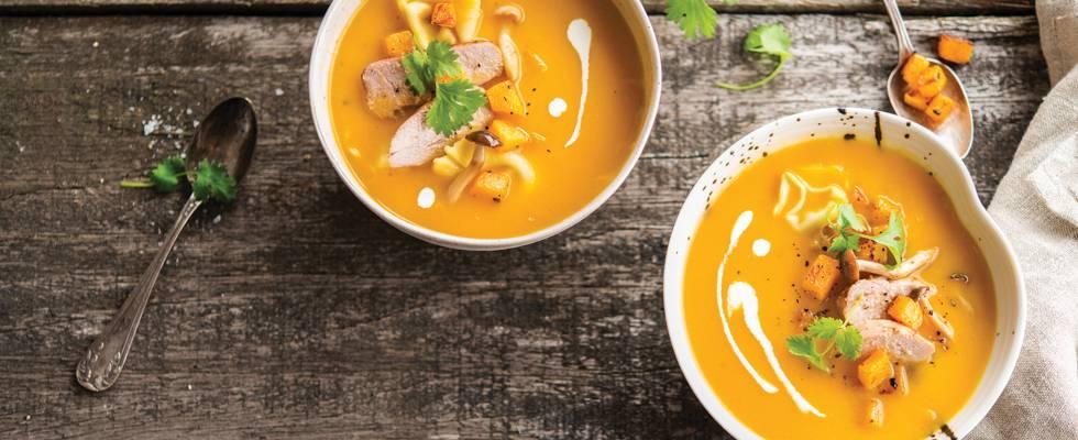 Soupe de carottes et potirons et filet de faisan