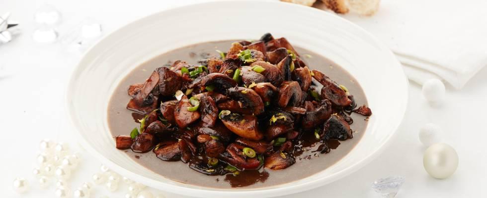 Champignons marinés au porto, au vinaigre balsamique et aux agrumes