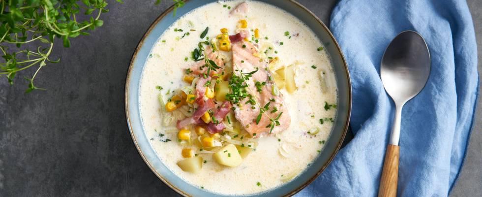 Soupe crémeuse au saumon