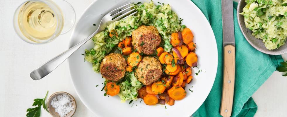Purée de brocoli, carottes et boulettes de poulet